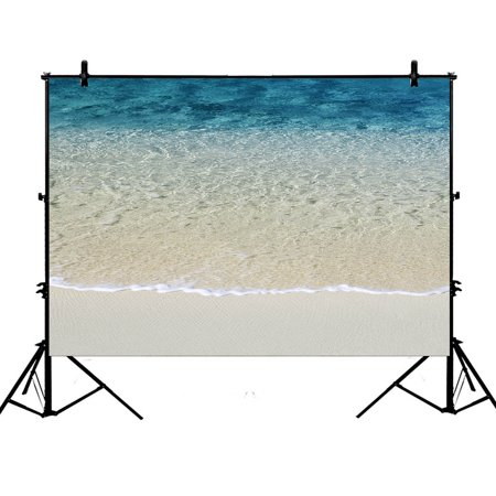 GCKG 7x5ft Beach Clear Sea Sand Ocean Polyester Photography Backdrop Studio Photo Props Background