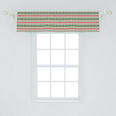 Christmas Window Valance, Jumping Reindeers Border with Xmas Mistletoe Poinsettia Flower, Curtain Valance for Kitchen Bedroom Decor with Rod Pocket, by Ambesonne ()