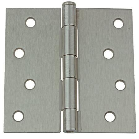 """4"""" Square Corner Steel Door Hinge, Satin Nickel"""