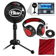 Blue Snowball Studio USB All-In-One Vocal Recording System with Samson Dynamic Headphones and Fibertique Cloth