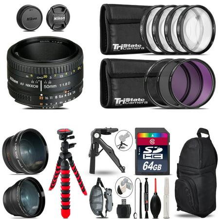 Nikon AF 50mm 1.8D - 3 Lens Kit + Tripod + Backpack - 64GB Accessory