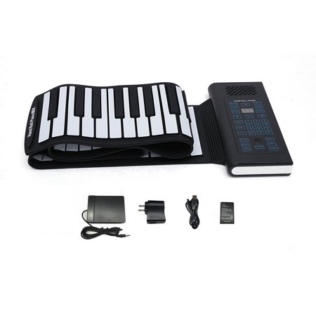KikerTech BT 2018 Premium Grade Silicone Roll Up Piano Keyboard with Built-In Speaker, Connecting Pedal and Bluetooth (88 Keys,