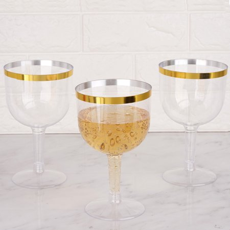 BalsaCircle 6 pcs 25 oz Clear with Gold Rim Plastic Champagne Glasses - Disposable Party Wedding Tableware Catering