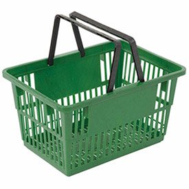 Plastic Shopping Basket with Plastic Handle, Standard, 17