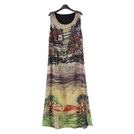 Collar Vest Dress (EFINNY Women's Silk Chiffon Beach Long Maxi Vest Dress )