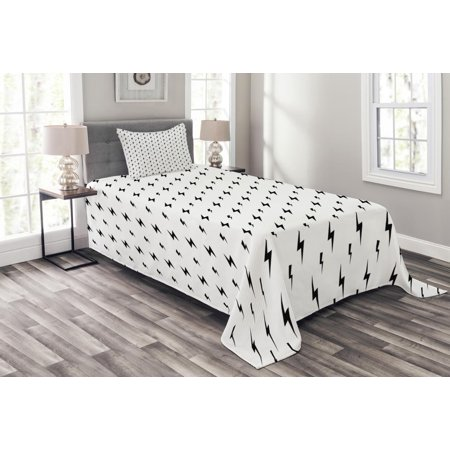 Black And White Bedspread Set Thunderbolts Zig Zag Pattern Electric