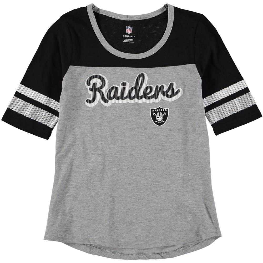 Oakland Raiders Girls Youth Fan-Tastic Short Sleeve T-Shirt - Heathered Gray/Black