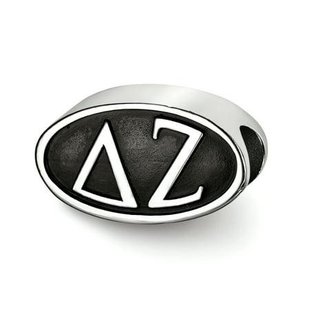 Sterling Silver LogoArt Official Licensed Greek Sororities Delta Zeta (??) OVAL LETTERS BEAD ()