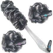 Loofah-Charcoal Back-Scrubber & Bath-Sponges by Shower Bouquet: 1 Long-Handle-Back-Brush plus 2 Extra Large 75g Soft Mesh Poufs, Men & Women - Exfoliate with Full Pure Cleanse in B - Best Reviews Guide