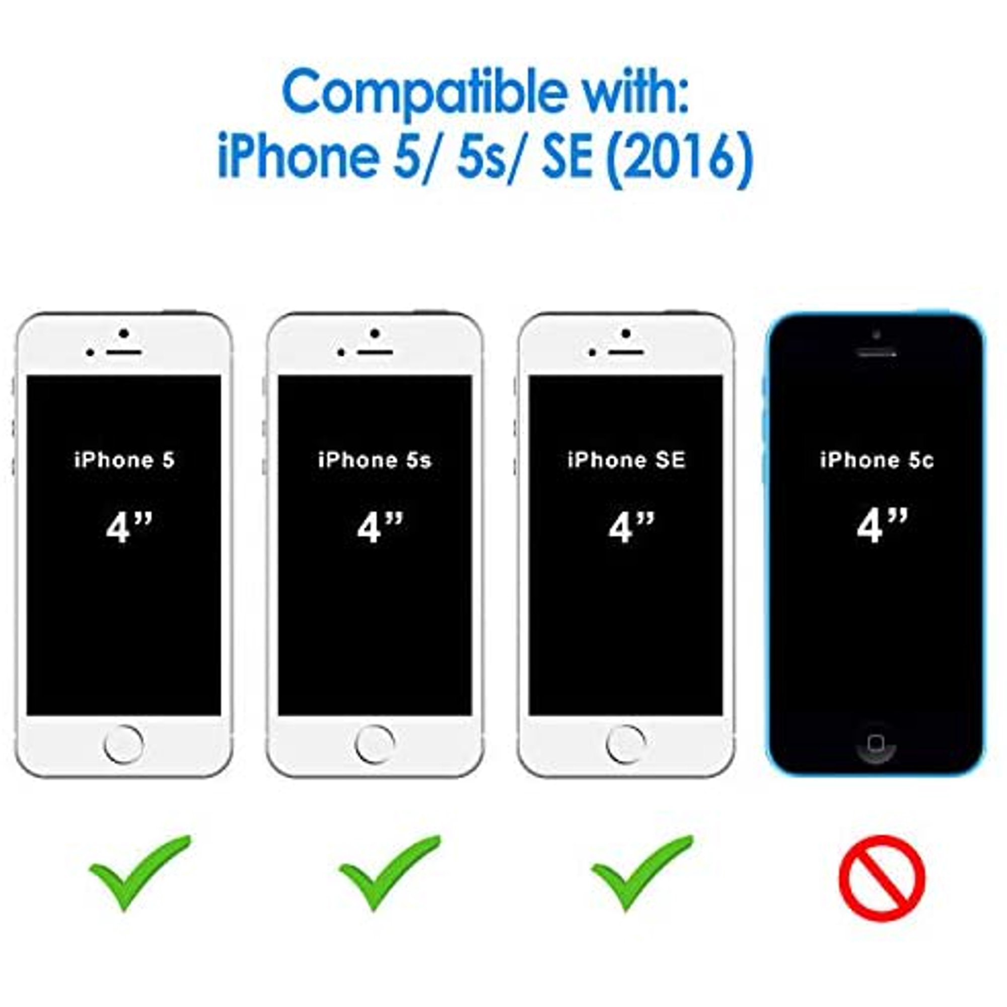 JETech Case for Apple iPhone SE (2016 Edition), iPhone 5s and iPhone 5, Shockproof Bumper Cover, Anti-Scratch Clear