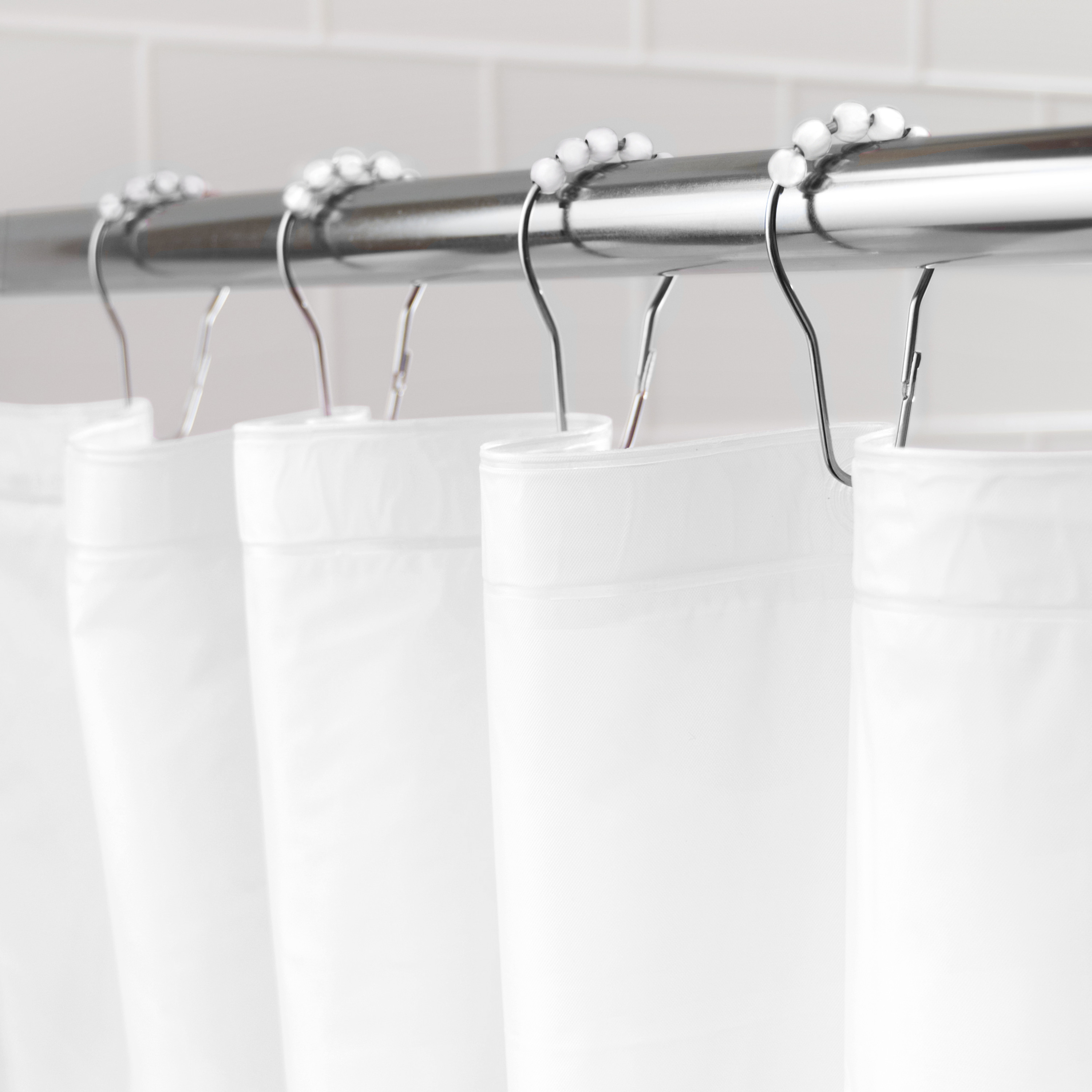Kenney Medium Weight Mildew Resistant PEVA Shower Curtain Liner And Beaded Roller Ring Set 70 W X 72 H White