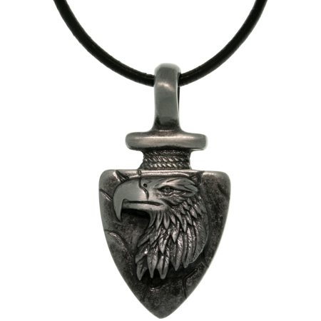 Pewter Men's Eagle Arrowhead Pendant with 18 Inch Black Leather Cord Necklace 18' Leather Cord Necklace