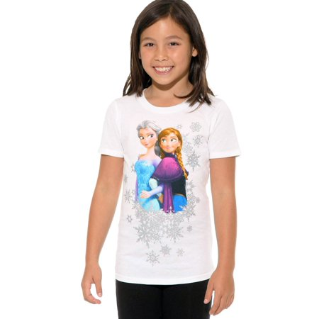 Disney Girls Anna and Elsa Frozen T-Shirt White