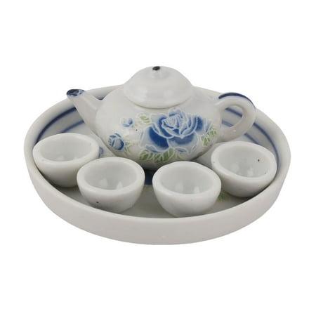 Household Table Ceramic Flower Pattern  Teapot Cup Plate Tea Decorative Set