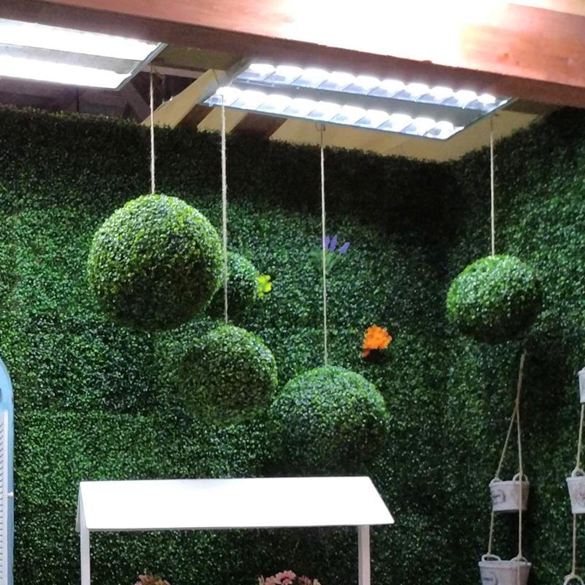 Moaere Artifical Green Grass Ball Topiary Hanging Plant Garland Mini
