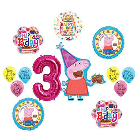 Peppa Pig Pink 3rd Birthday Party Balloon supplies and decorations kit - Peppa Pig Birthday Supplies