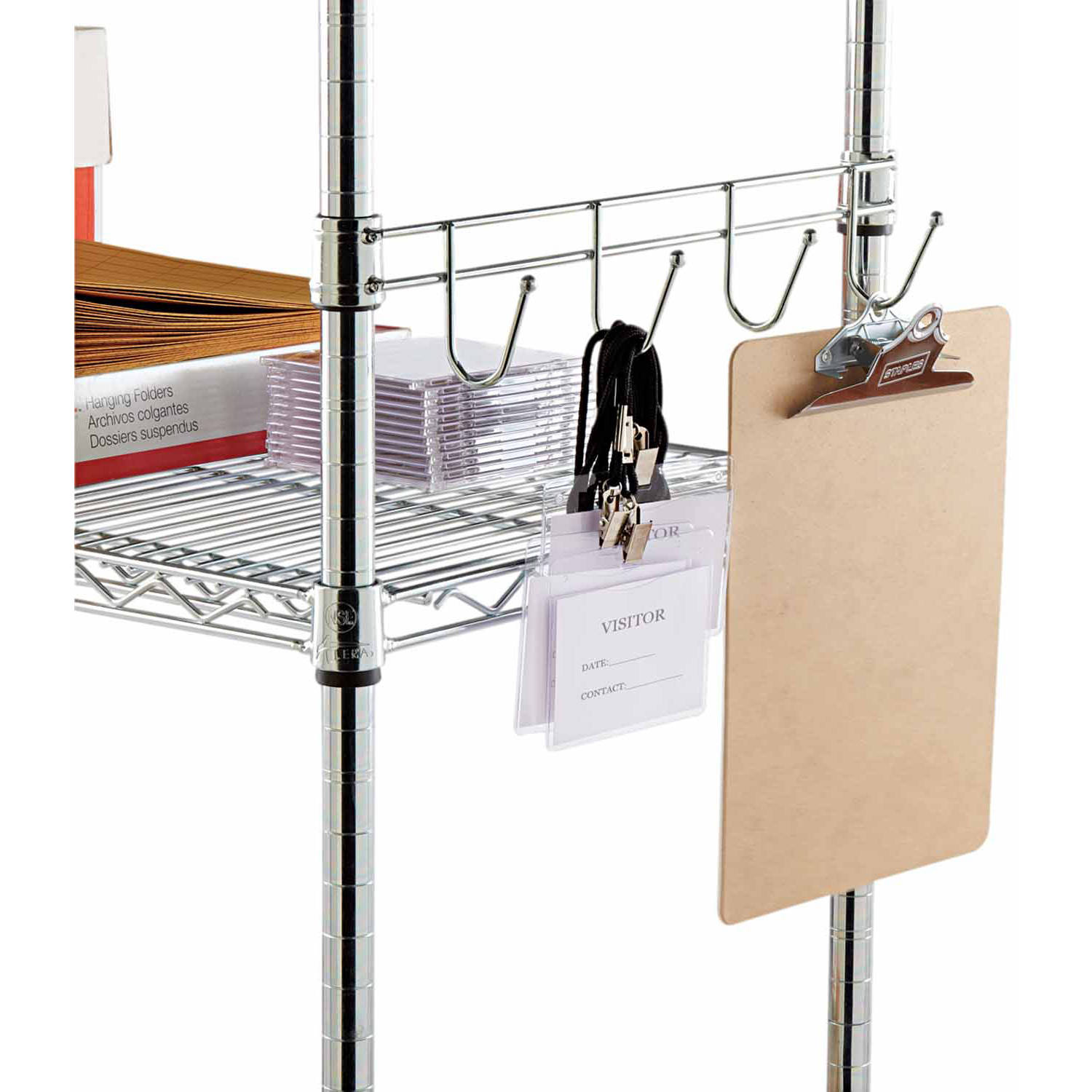 Alera Hook Bars for Wire Shelving, Silver, 2 Bars, Available in Multiple Sizes