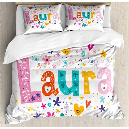 Laura Queen Size Duvet Cover Set, Baby Girl Name with Vintage Doodle Style Flowers and Stars Colorful Illustration, Decorative 3 Piece Bedding Set with 2 Pillow Shams, Multicolor, by Ambesonne ()