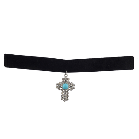 Lux Accessories Pave and Turq Stone Cross Black Thick Suede Suede Trendy (Stone Bezel Black Cross)