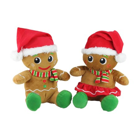 Set of 2 Plush Sitting Gingerbread Boy and Girl Stuffed Christmas Figures - Sitting Gingerbread