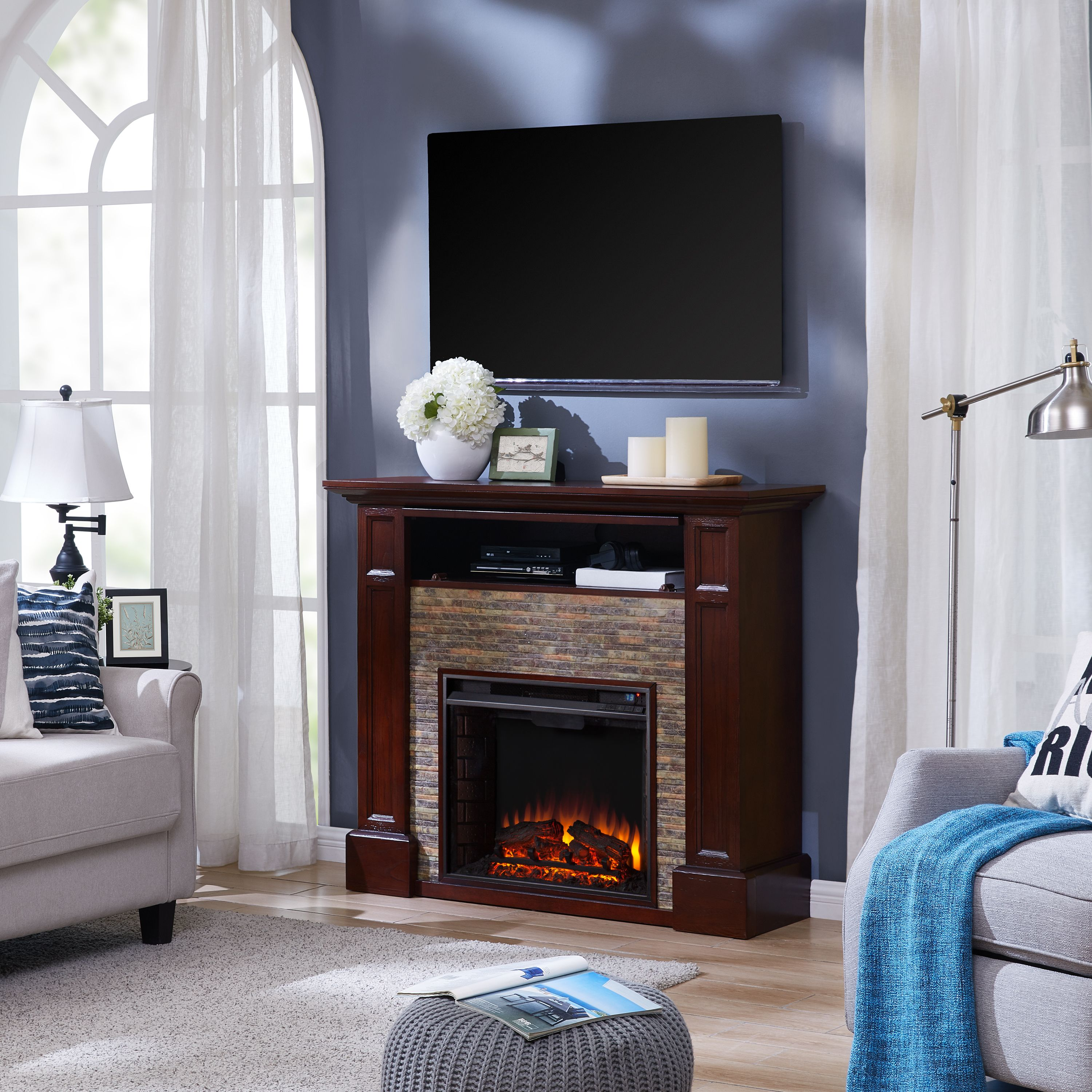 Brightstone Faux Stone Media Fireplace, Traditional, Whiskey Maple
