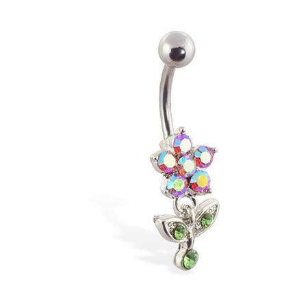 Pink AB Flower Belly Ring With Dangling Jeweled Leaves N Stem