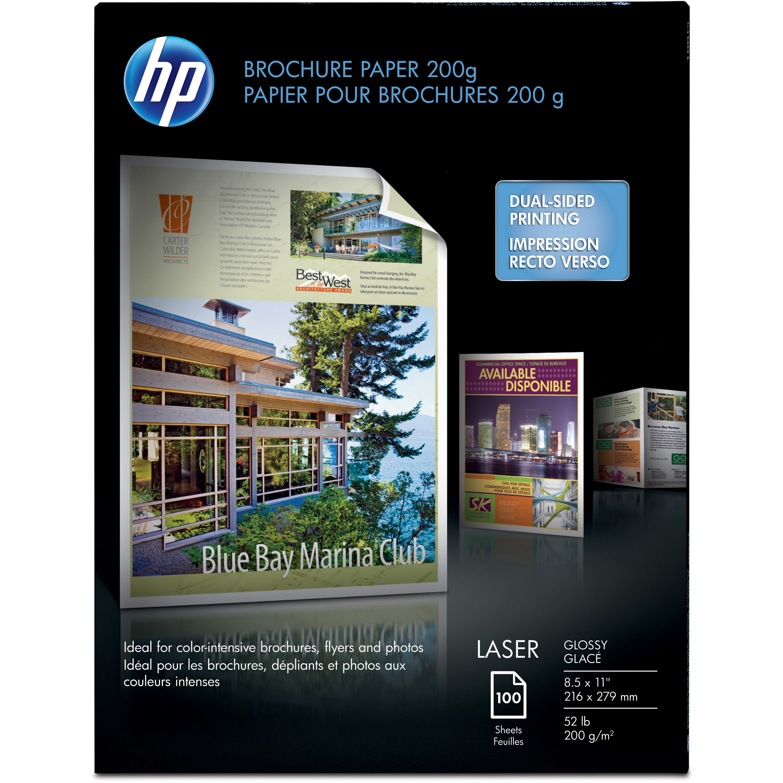 HP, HEWQ6608A, 52 lb Glossy Brochure Paper, 100 / Pack, White