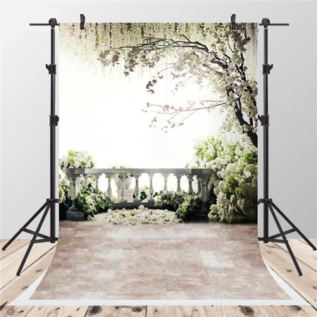 MOHome Polyster 5x7ft Scenic White Flowers Photography Backdrops Brick Floor Family Balcony Tree Photo Background for Children Studio
