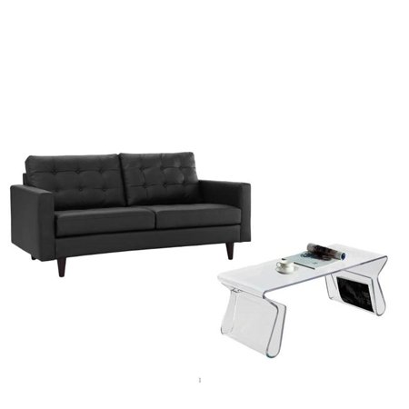 2 Piece Living Room Set with Black Leather Lovaseat and Clear Coffee - Black Leather Coffee