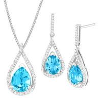 Finecraft 4 7/8 ct Swiss Blue Topaz & 1/3 ct Diamond Set