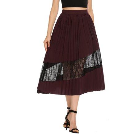 Patchwork Womens Skirt (Women High Waist Lace Patchwork Pleated Skirt Maxi Long Beach Party)