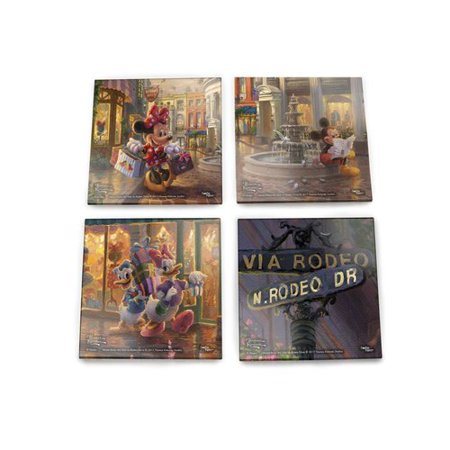 Trend Setters Disney's Minnie Mouse Rocks the Dots on Rodeo Drive Starfire Prints Glass 4 Piece Coaster Set