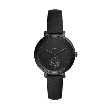 Fossil Women's Jacqueline Three-Hand Black Leather Watch, ES4490 (Fossil Watches Black Leather)