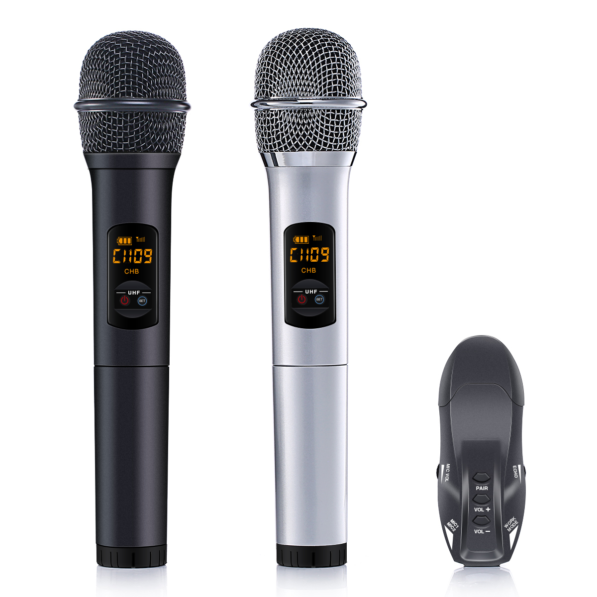 2 Wireless Microphone Set,ELEGIANT K18U 10 Channel UHF Handheld HiFi Wireless Microphones Karaoke Receiver Dynamic Microphones for Wedding Speech Conference Karaoke Party