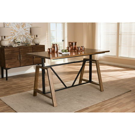 Baxton Studio Nico Rustic Industrial Metal and Distressed Wood Adjustable Height Work Table ()
