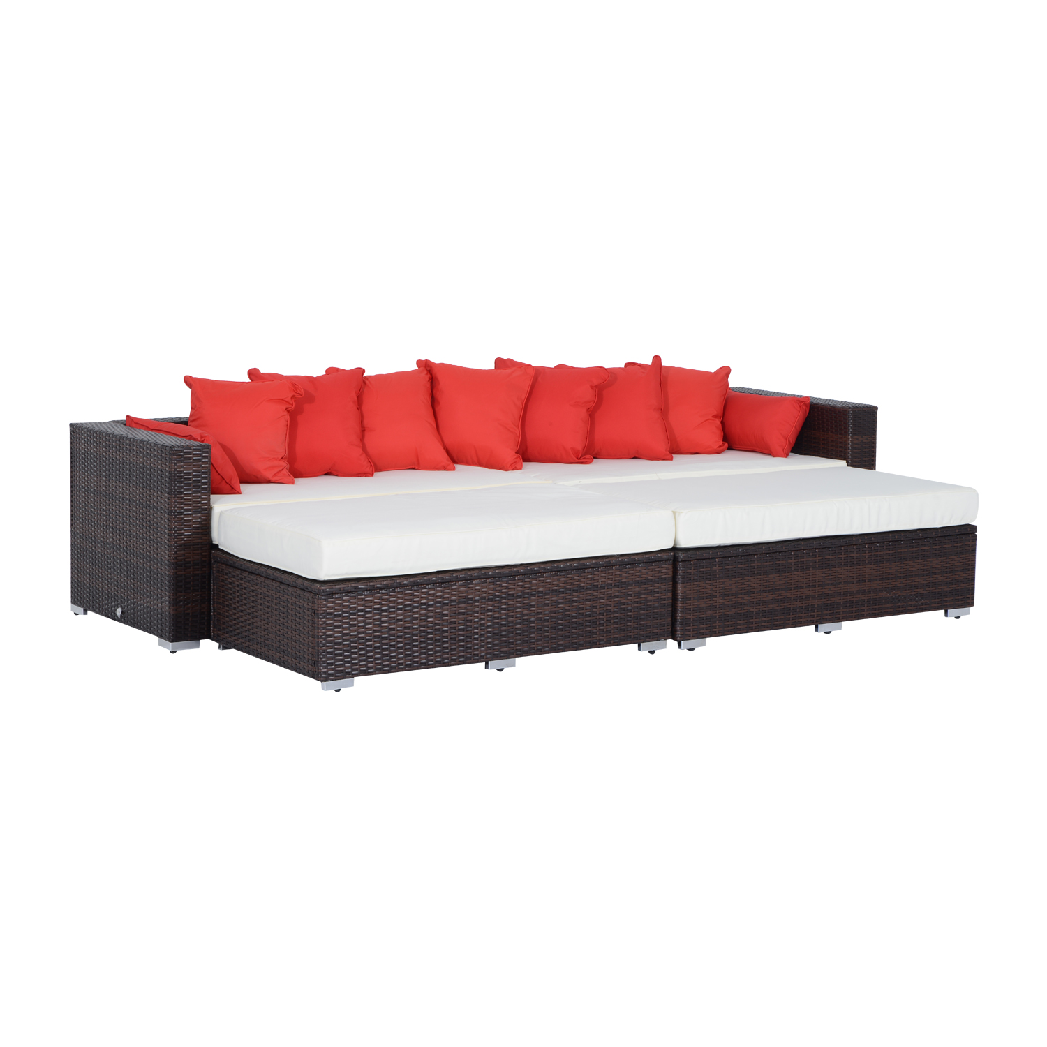 outsunny 4piece outdoor patio pe rattan wicker sectional sofa furniture set