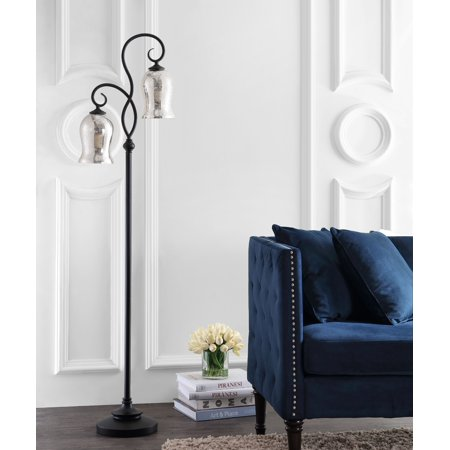 Carved Floor (Safavieh Claudia. Double Curved Floral 63.5 in. H Floor Lamp, Black )