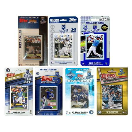 C & I Collectables MLB Kansas City Royals 7 Different Licensed Trading Card Team - Kansas City Royals Team Card