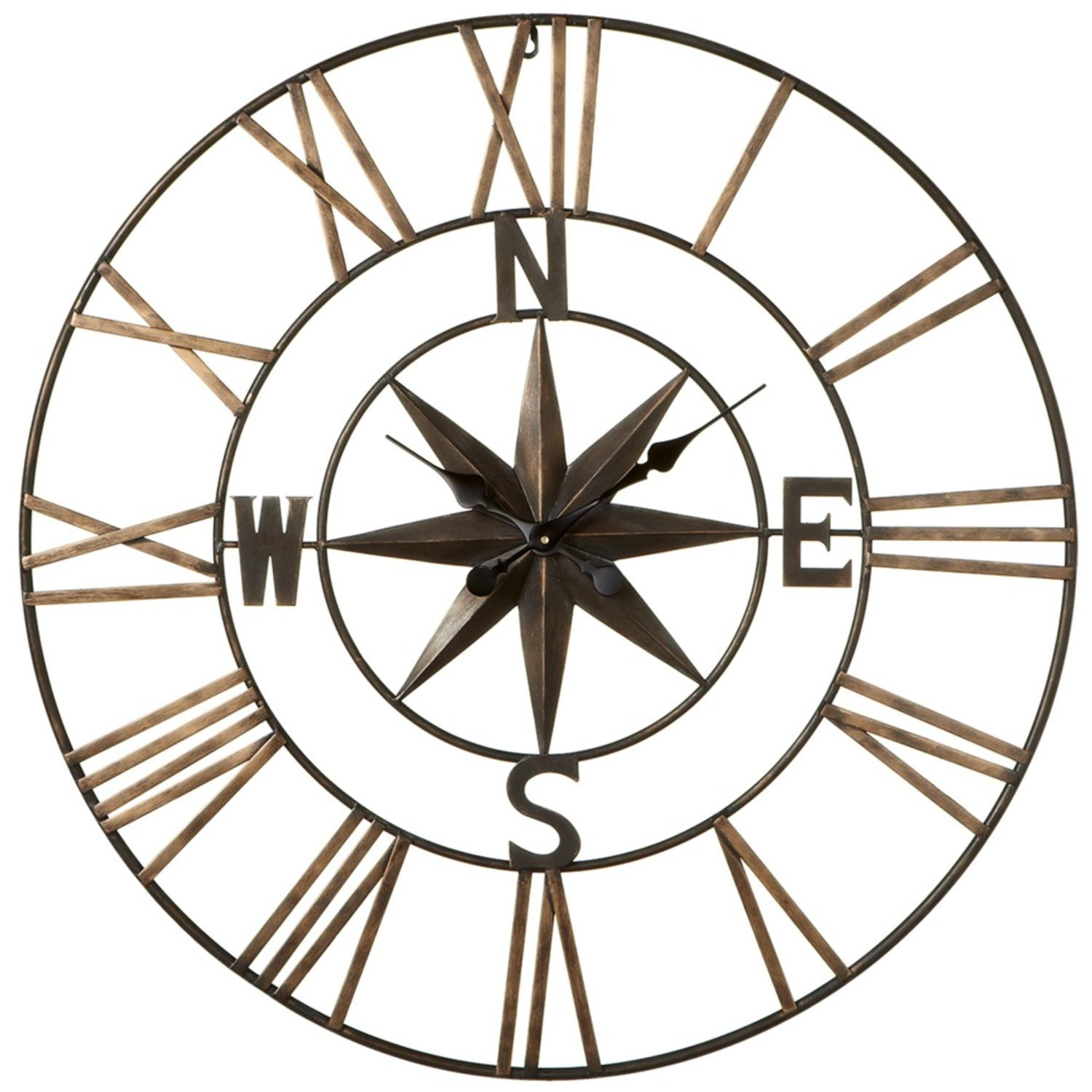 "32.25"" Metallic Brown Decorative Compass with Star Analog Wall Clock"