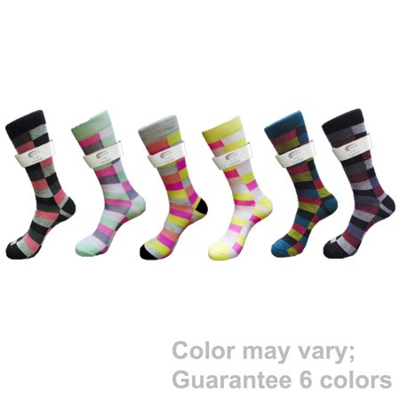 Fancy Casual Men's 6 PAIRs Check Square Cotton Crew Dress Socks, Tube Gift Sock, Size 10 - 13