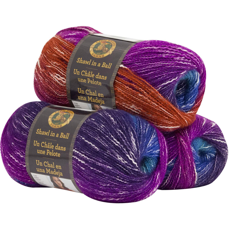 Lion Brand Yarn Shawl in a Ball 3 Pack Fashion Yarn