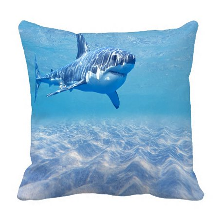 PHFZK Underwater World Pillow Case, Great White Shark in the Ocean Pillowcase Throw Pillow Cushion Cover Two Sides Size 18x18 inches ()