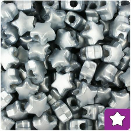 BeadTin Grey Pearl 13mm Star Pony Beads