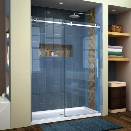 DreamLine Enigma Air 56-60 in. W x 76 in. H Frameless Sliding Shower Door in Brushed Stainless Steel