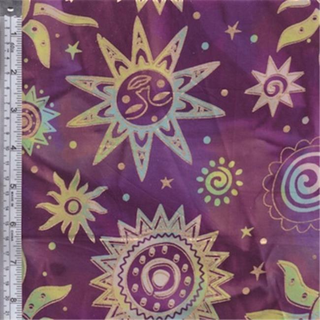 Textile Creations OY-154 Odyssey Fabric, Sun Black Gold On Purple, 15 yd.