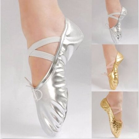 Meigar Kids Girls' Basic Casual Flat Shoes Ballet Dance Shoes Gold Silver Shoes ()