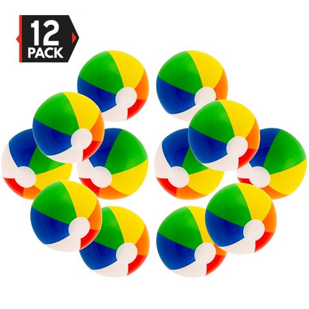 """12"""" Rainbow Color Party Pack Inflatable Beach Balls (12 Pack)"""