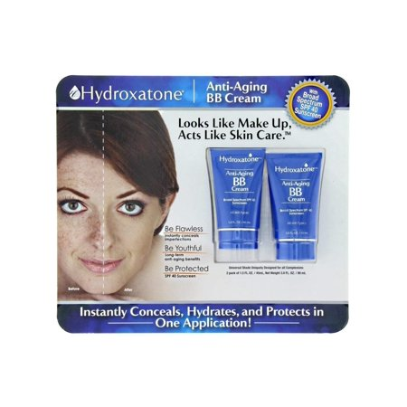 Anti-Aging BB (Beauty Balm) Cream, Universal Shade for ALL Skin Types, SPF 40 (BONUS Pack of 2, 1.5 ounce bottles), BE FLAWLESS: Instantly conceals imperfections. By Hydroxatone,USA