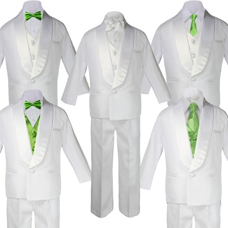 5-7pc Boy Teen White Shawl Lapel Party Suits Tuxedo LIME Satin Bow Necktie Vest](Boys White Suits)