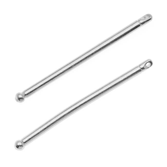 Rhodium Plated Pewter Large Hole Add A Bead Bar Pendant 44mm (2 Bars)